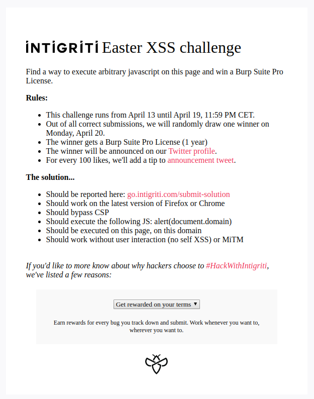 XSS challenge rules